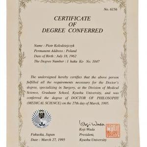 Certyfikat - stopień lekarski